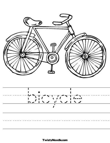 Bicycle Worksheet Gambar