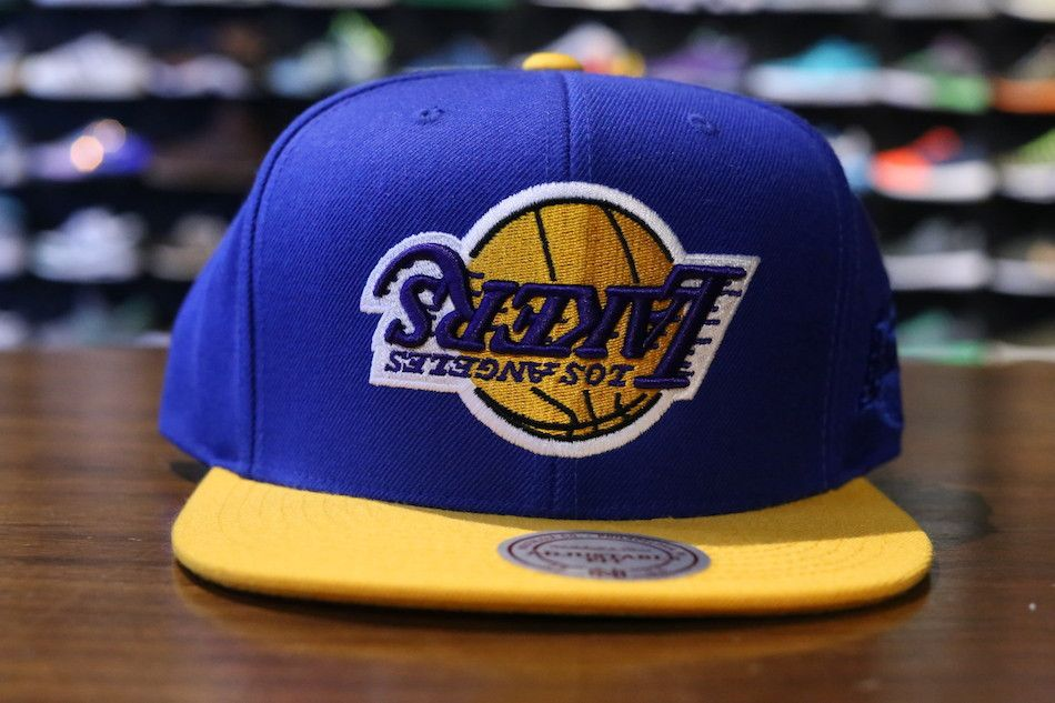 8dc78dba45190 Hall of Fame x Mitchell   Ness - Upside Down Lakers Beanie Hats