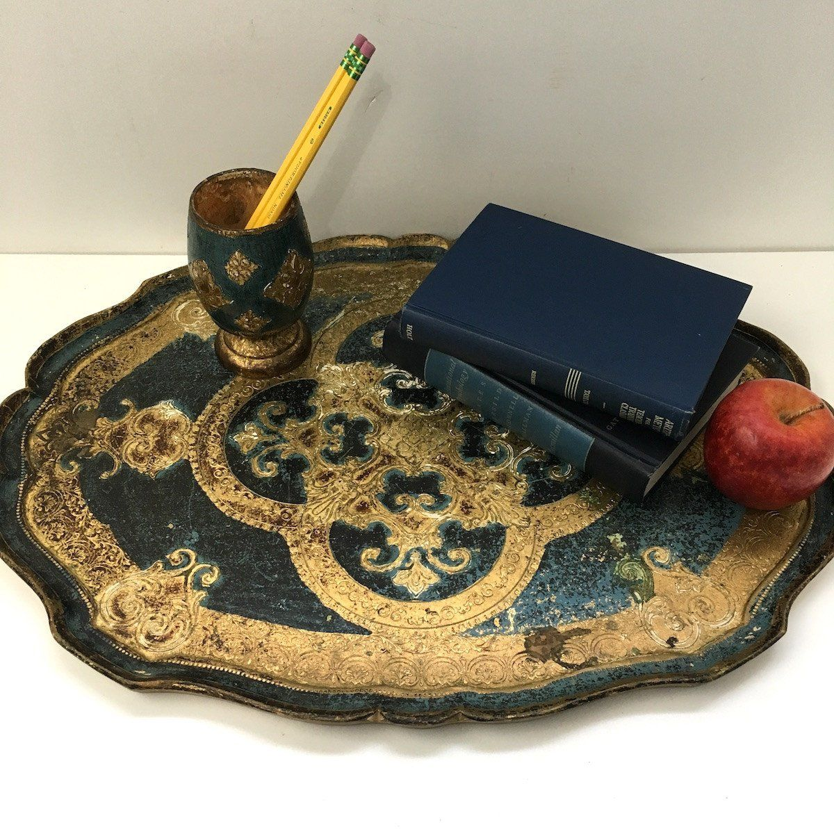 Florentine desk set - blue and gold gesso on wood painted tray and pencil holder - 1960s decor