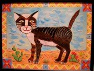 "Pin the Tail on the Cat'©10 Mary Bero paper, a/c,fabric 24""X18""X2"""