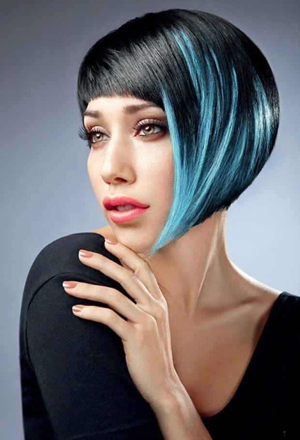 schwarz asymmetrische Frisur mit Pony #frisurens # ...