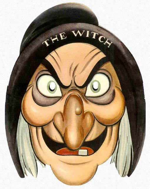 Halloween Cartoon Witch Face.Cartoon Faces Halloween The Witch Paper Face Mask Einson Freeman