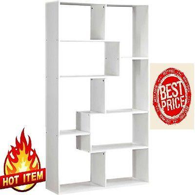 Bookshelf 8 Shelve Bookcase Storage Wall Rack Organizer White