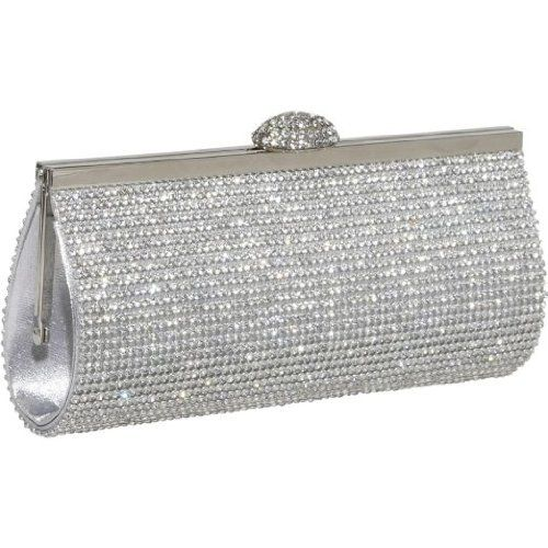 8eb0a563ac Ecosusi Sophisticated Crystals Rhinestones Clasp Flap Clutch Evening Bag  Baguette Handbag (Silver)