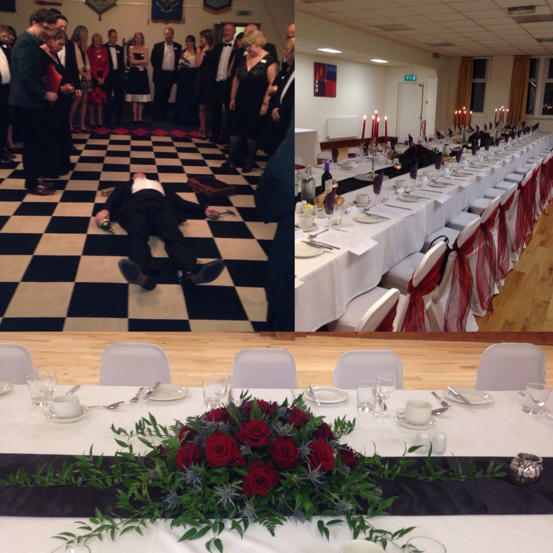 Murder mystery night at redditch Masonic hall Banquet table with