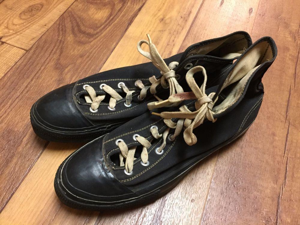 20082834dbd5 Rare 1940s Vintage Converse Chuck Taylor Black Tag Athletic Shoes (Size  11.5)