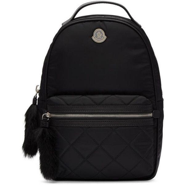 Moncler Black Georgette Backpack (8.375 ARS) ❤ liked on Polyvore ... : black quilted rucksack - Adamdwight.com