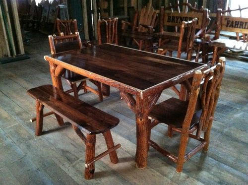 Log Kitchen Tables Sassafras walnut rustic log kitchen table 2 chairs 2 benches amish sassafras walnut rustic log kitchen table 2 chairs 2 benches amish made in usa ebay workwithnaturefo