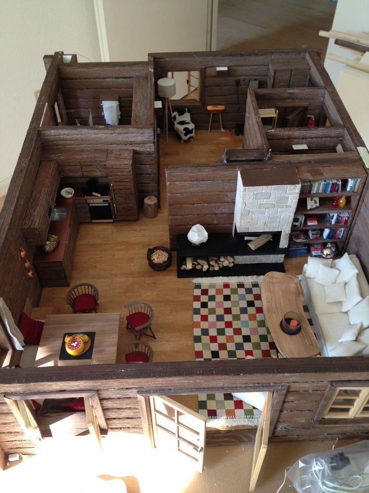 1 12 Miniature Dollhouse Log Cabin Doll House Dollhouse