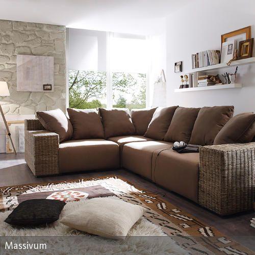 Couch Mit Rattan Gestell