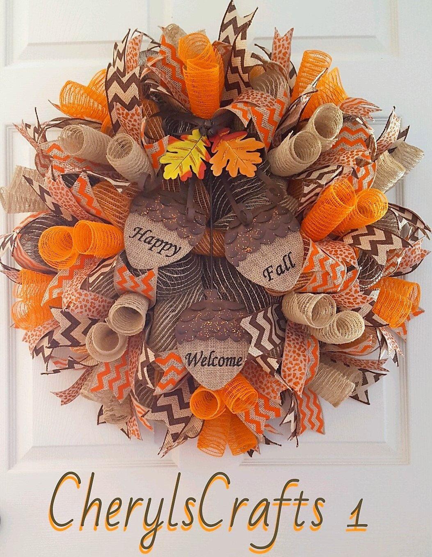 Fall Mesh Wreath,Fall Burlap Wreath,Fall Door Wreath,Happy ...
