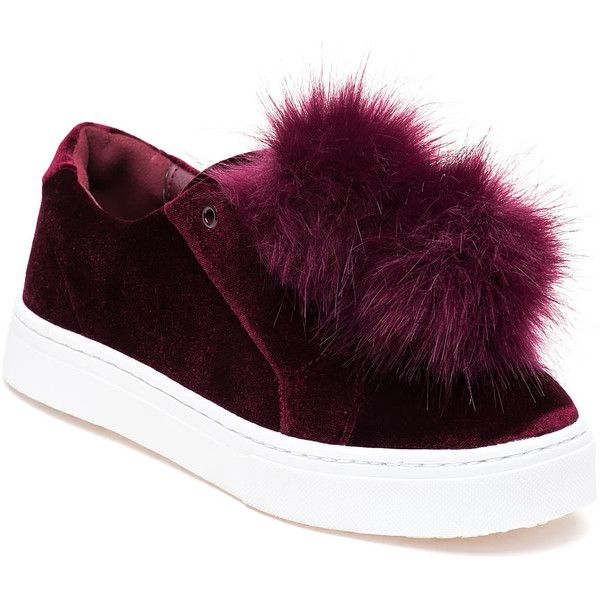 70bef0ead SAM EDELMAN Leyla Wine Velvet Pom Pom Sneaker ( 100) ❤ liked on Polyvore  featuring shoes and sneakers