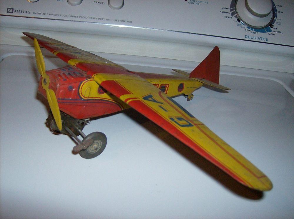 Classic Wind Up Rotating Airplane Carousel Clockwork Tin Toy Retro Toys Hobbies