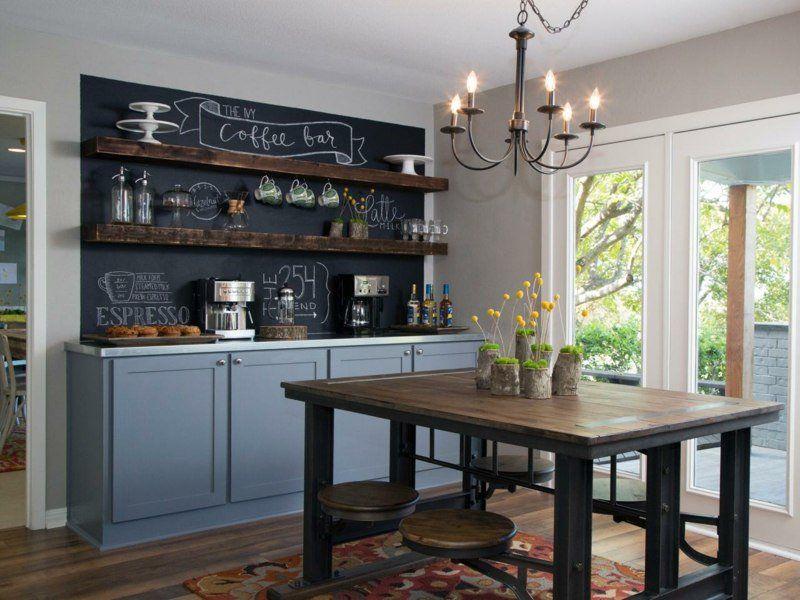 Peinture ardoise en 17 id es pratiques pour l 39 int rieur livingroom salle manger - Peinture ardoise cuisine ...