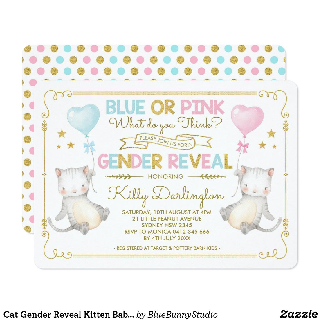 Cat Gender Reveal Kitten Baby Shower Boy Or Girl Invitation Zazzle Com Cat Baby Shower Whimsical Baby Shower Invitation Whimsical Baby Shower