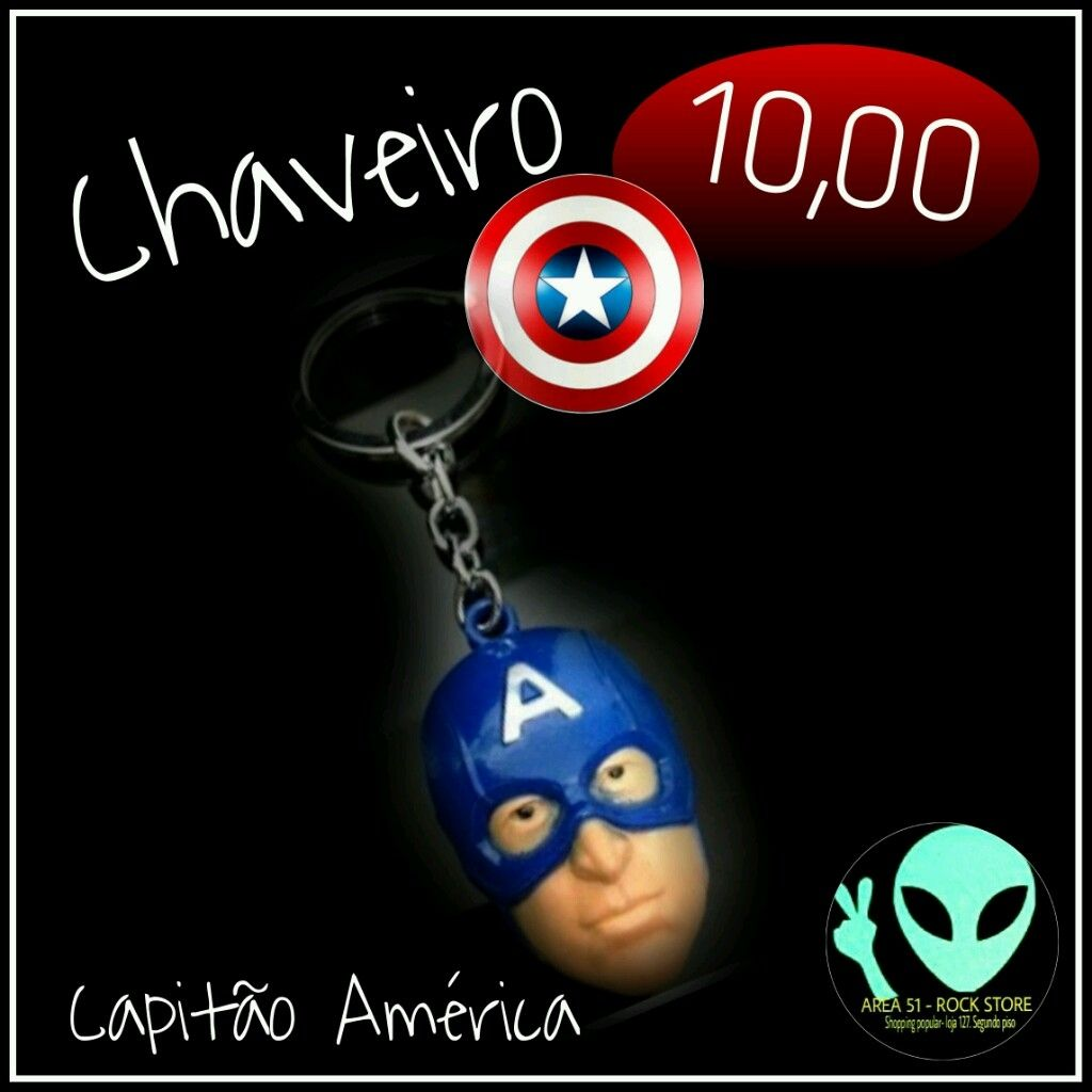 Veja nosso novo produto Chaveiro Capitão América ! Se gostar, pode nos ajudar pinando-o em algum de seus painéis :)