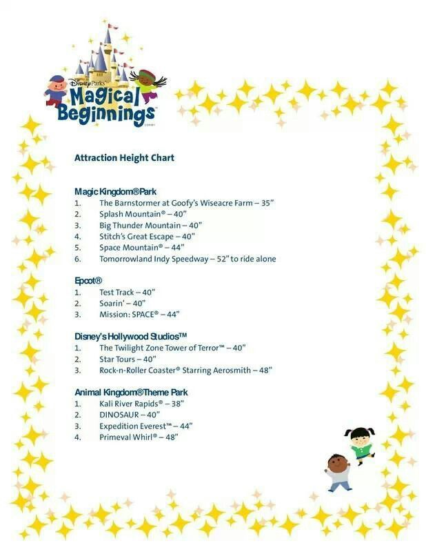 Height Chart For Rides Disney World Rides Walt Disney World Rides Disney Trip Planning