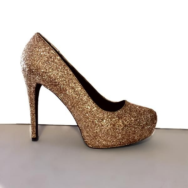 ... lower price with 9190d a2366 Womens Sparkly Bronze Copper Glitter high  low Heels wedding bride shoes ... 222f7d175