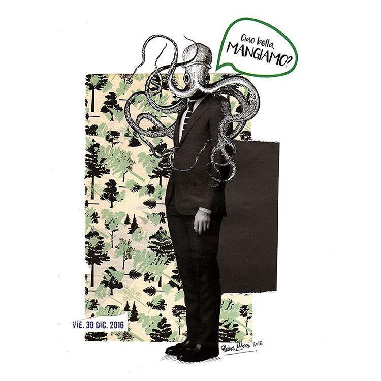 CIAO BELLA, MANGIAMO? by @reyes_morabite #ReinaMora #ReinaMoraArt -- #collage #diciembre #artpaper #collageartist #collageartwork #collageart #collagelover #paperlover #cutandpaste #madewithpaper #handmade #pulpo #octopus #donjuan  #collagecollectiveco #losdiascontados