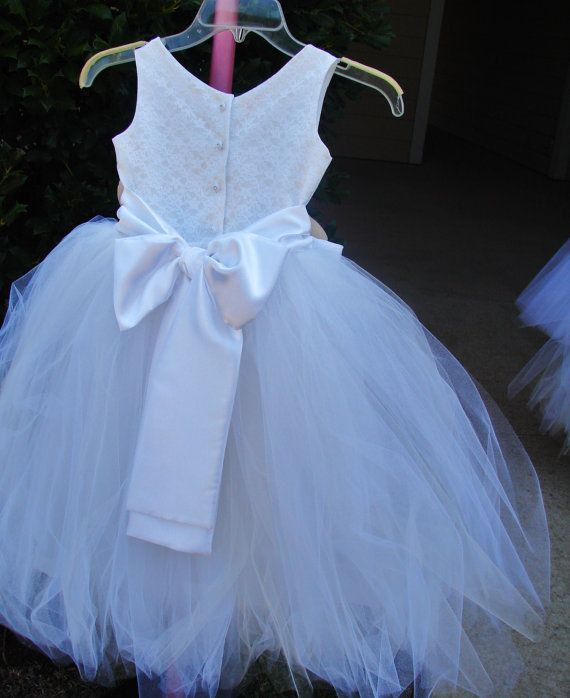 Beautiful Lace Covered Satin & Tulle FlowerGirl by NanaKStitches, $89.00