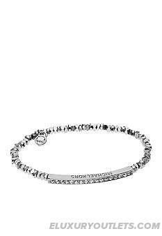 Newfangled Michael Kors Jewelry Silver Color Stretch Bracelet With Pave Detail
