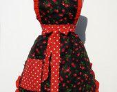 Retro Apron Vintage Inspired  Cherry Apron