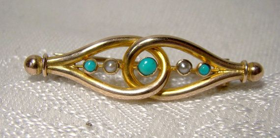 Victorian 9K Gold Bar Brooch Seed Pearls Turquoise Marked Antique