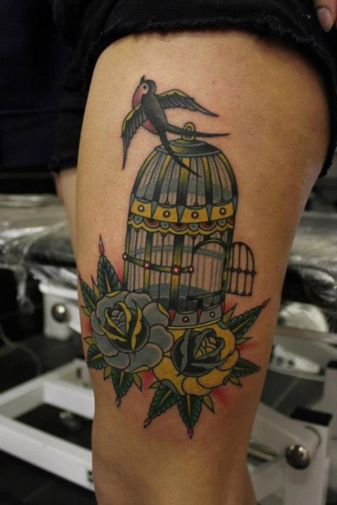 Neo-traditional Swallow, Cage, and Rose Tattoo By Phatt German ...