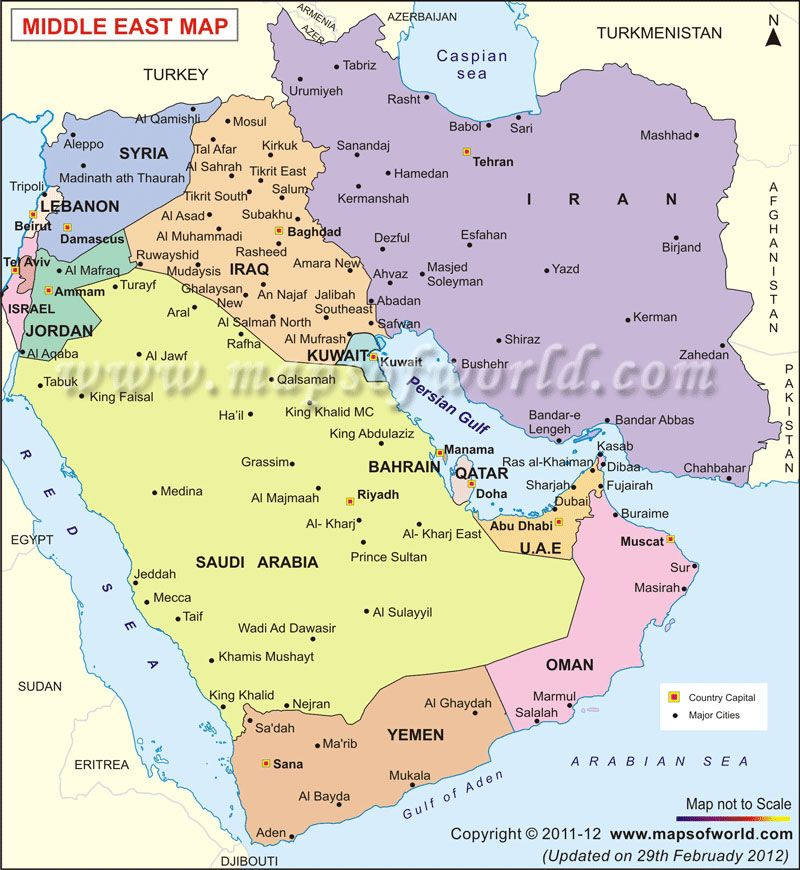 Middle East #Map - Middle East countries, capitals and
