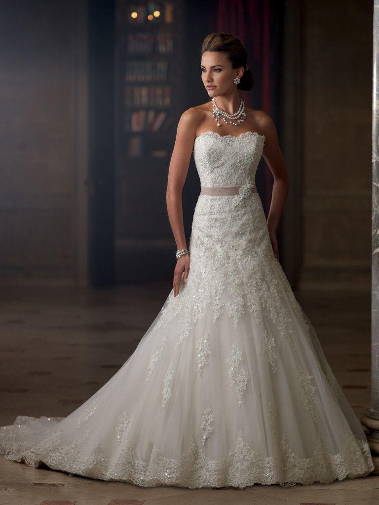 David Tutera for Mon Cheri - 213261 – Charlene - Lace strapless aline wedding dresswith tulle and velvet, illusion and scalloped