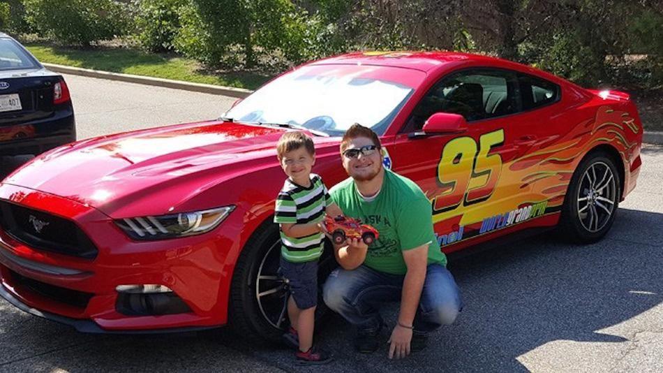 Cool Dad Surprises Son By Transforming Car Into Lightning McQueen - Lightning mcqueen custom vinyl decals for cardisney pixar cars a walk down cars advertising memory lane take