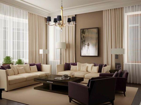 schickes wohnzimmer - deko und designher möbel in weiß und lila - wohnzimmer braun modern