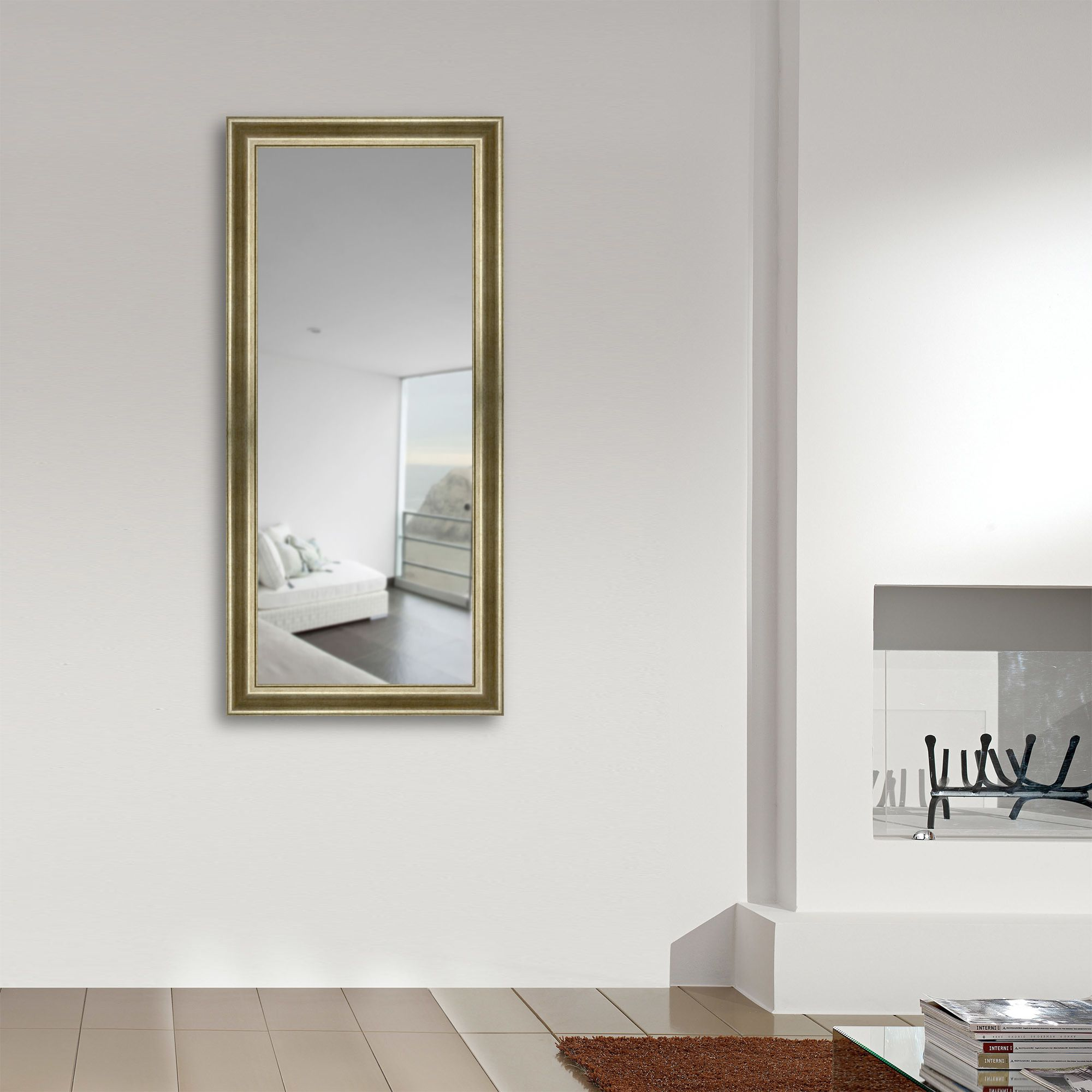98mm Wide Silver And Gold Frame With Bevelled Mirror This Antique Effect Frame Is Made With Real Silver Leaf With Gold Ag Gold Framed Mirror Mirror Gold Frame