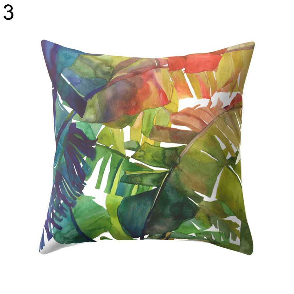 Modern multicolor tropical leaves print sofa bed throw pillow case