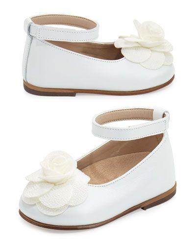0bb168d0c839 Leather Floral-Trim Ballet Flat
