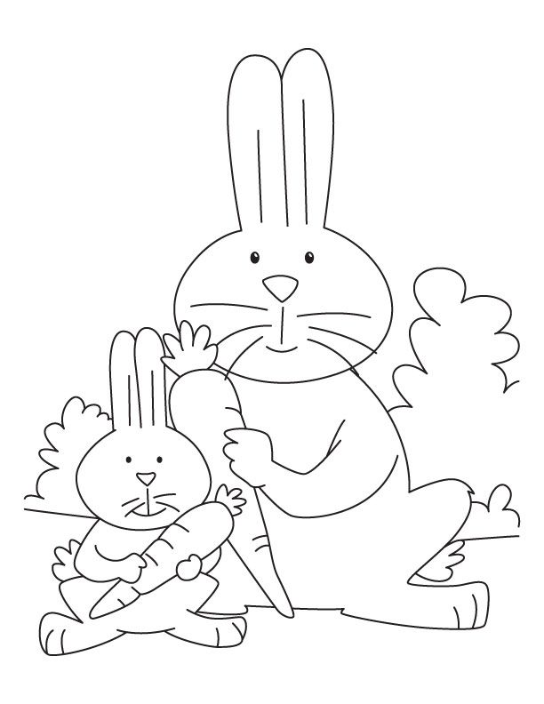 rabbit carrots coloring pages rabbit and kit eating carrot coloring page - Jumbo Coloring Pages