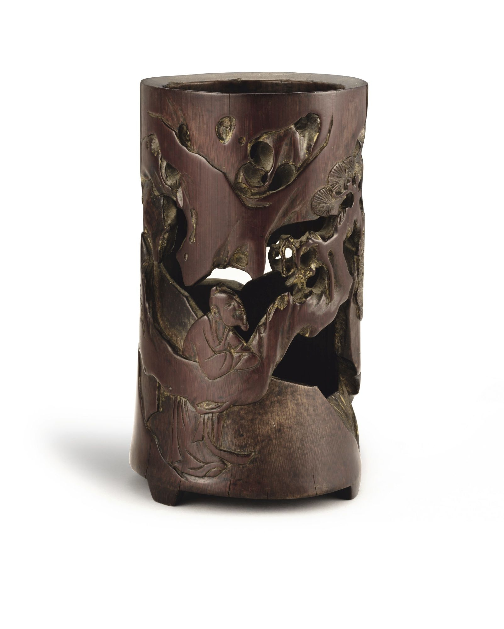 A RETICULATED BAMBOO 'SCHOLAR' BRUSHPOT<br>JIADING SCHOOL, 17TH CENTURY | Lot | Sotheby's