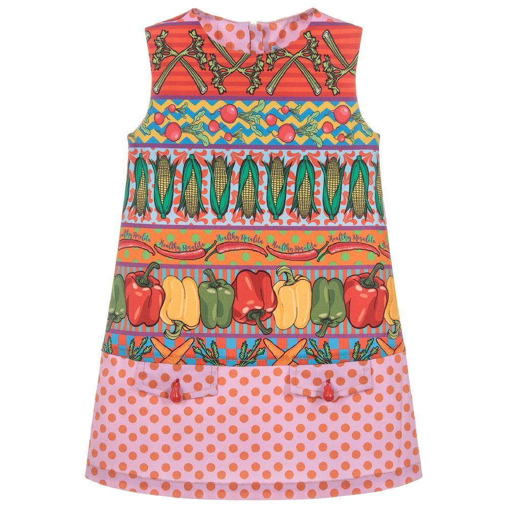 a9c5d03bf366 A sweet A-line cotton dress for girls, by Rosalita Senoritas. It has a  vibrant vegetable print with stripes, spots and checks and the words  'Healthy ...