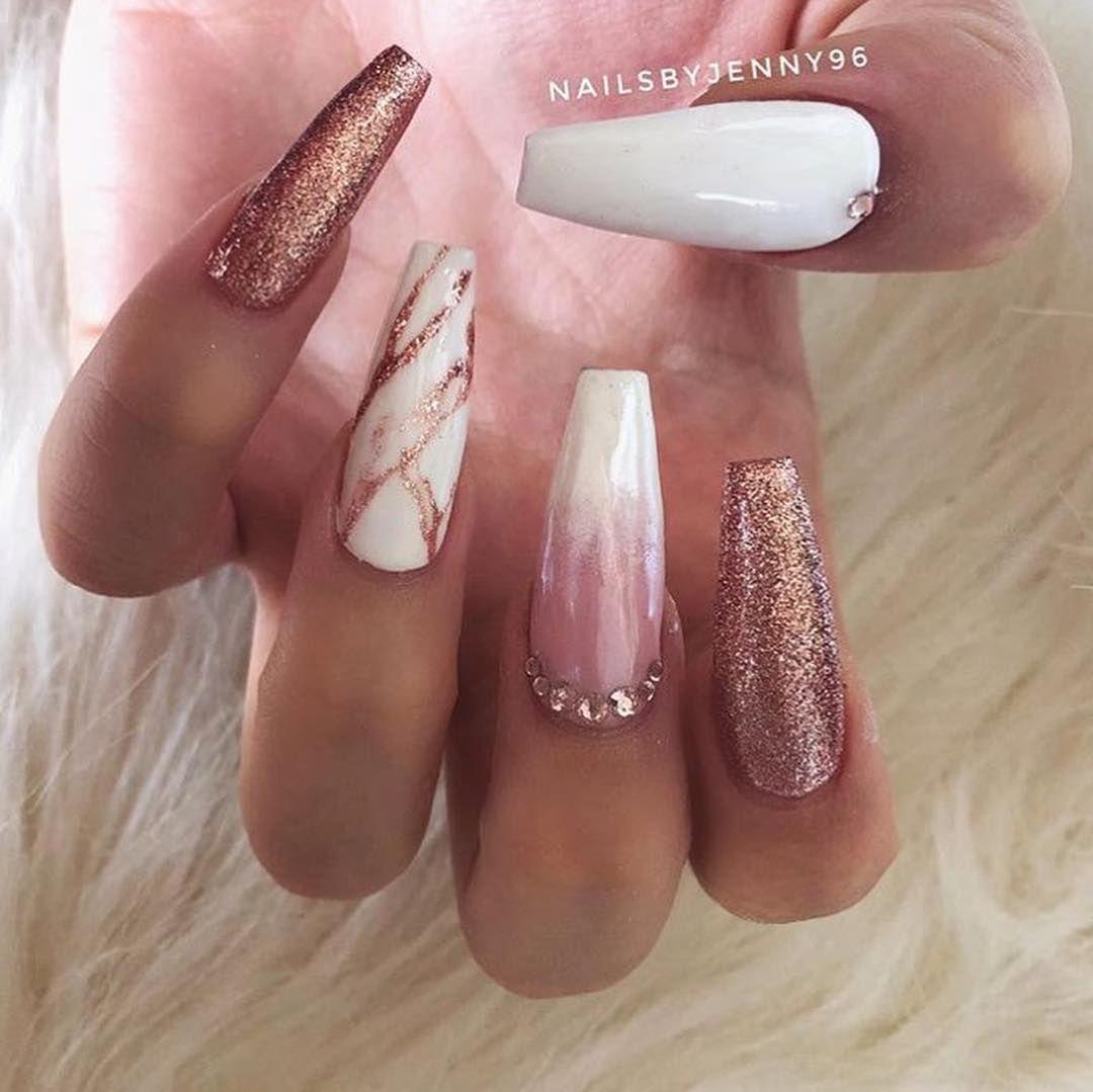 Glamour Nails Follow Doing Makeup Follow Doing Makeup Gold Acrylic Nails Glamour Nails Rose Gold Nails Acrylic