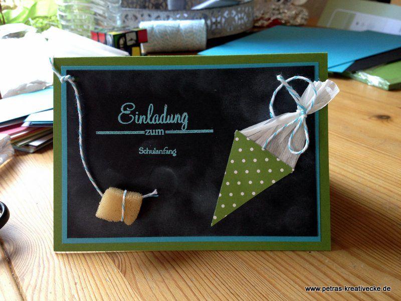 Schulanfang, Einladung Chalk Talk School Schule Einschulung Schulanfang  Karte Cards Chalkboard Tafel