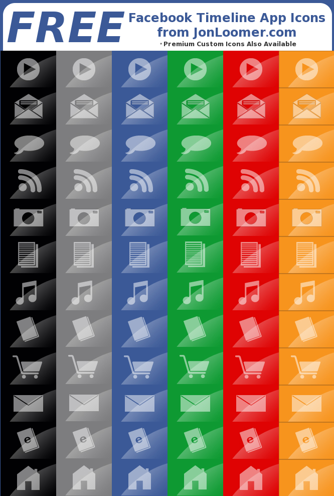6 Free Sets of Facebook Timeline App Icons from jonloomer