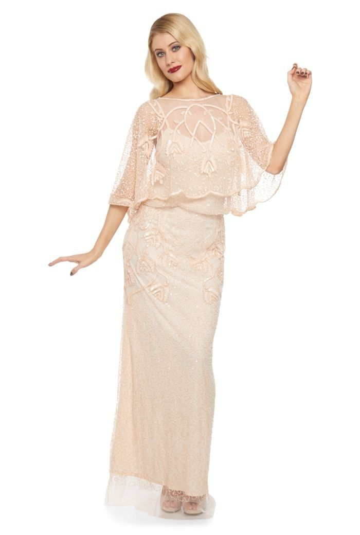 1920s Inspired Wedding Maxi Dress in Blush | Flapper style dresses ...