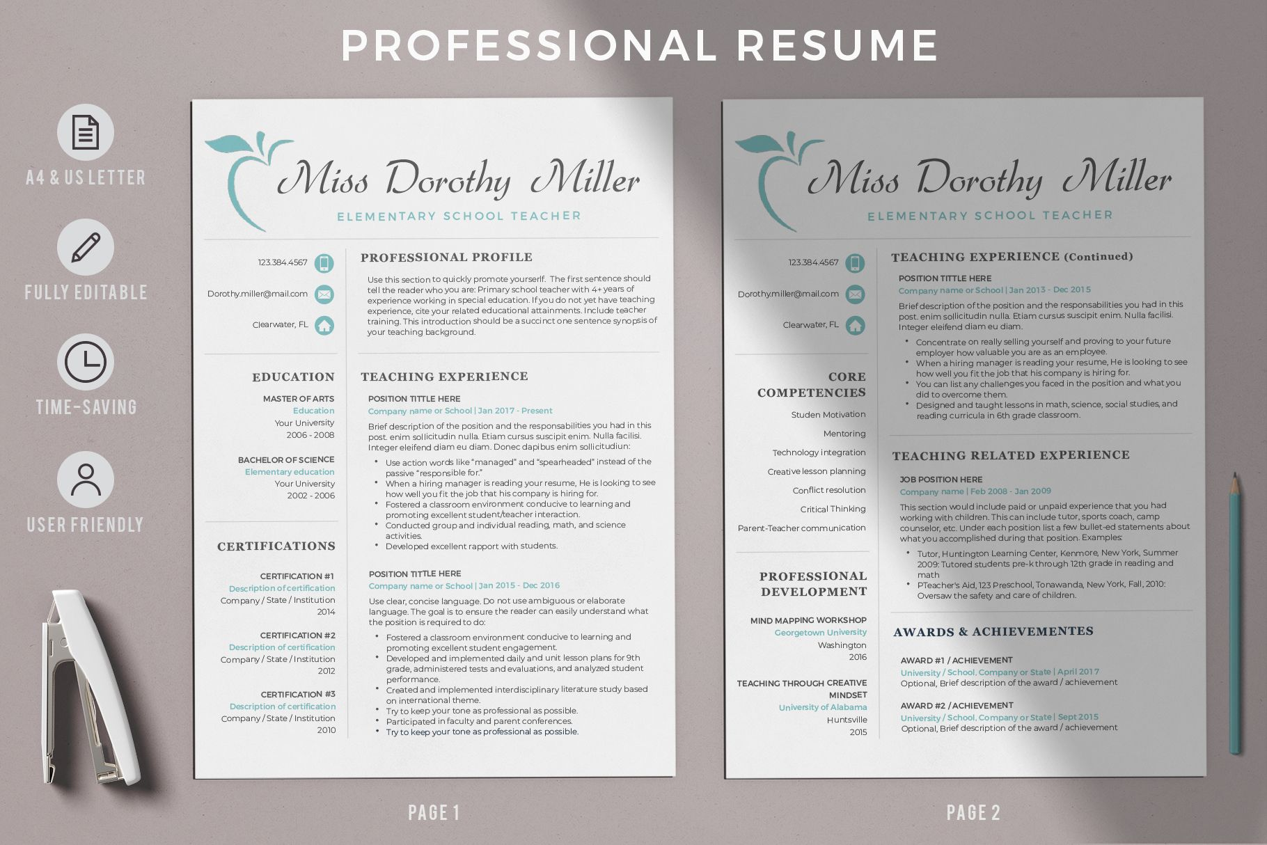 Creative Resume Templates For Ms Word And Mac Pages Professional Resume Templates And Matching In 2020 Elementary Teacher Resume Teacher Resume Design Teacher Resume
