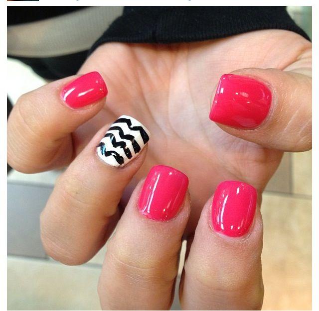 Hot Pink Gel Polish: Fun Nail Design! Hot Pink Gel Polish And Zigzag Design