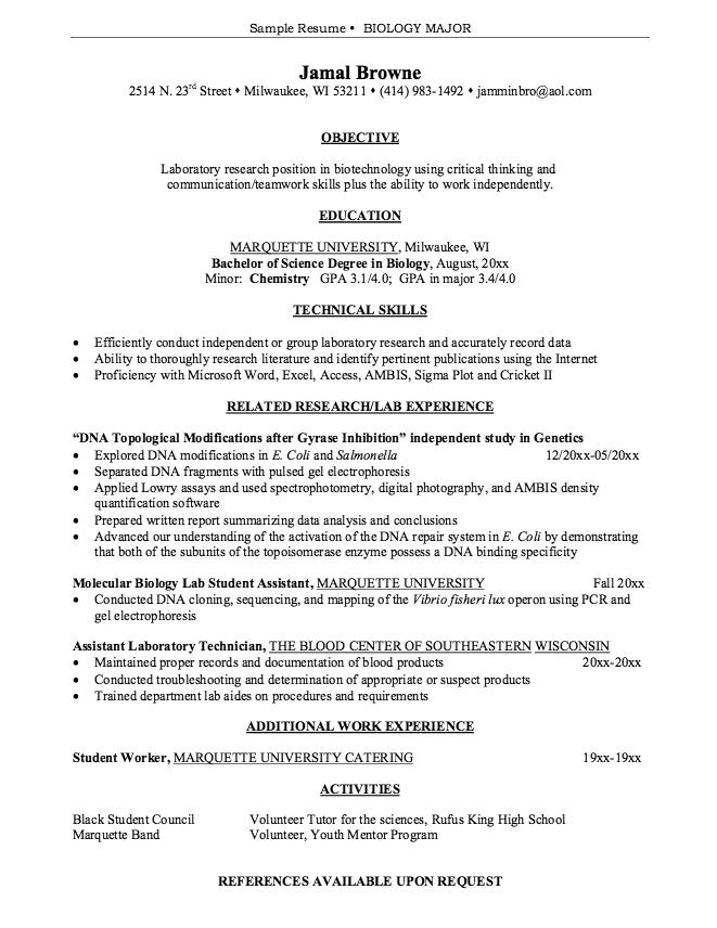 Cv Template Biology Resume Format Cv Template Resume Sample Resume