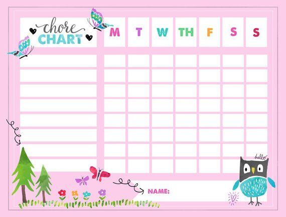 Kids Chore Chart Owl Reward Chart Behavior Chart Potty