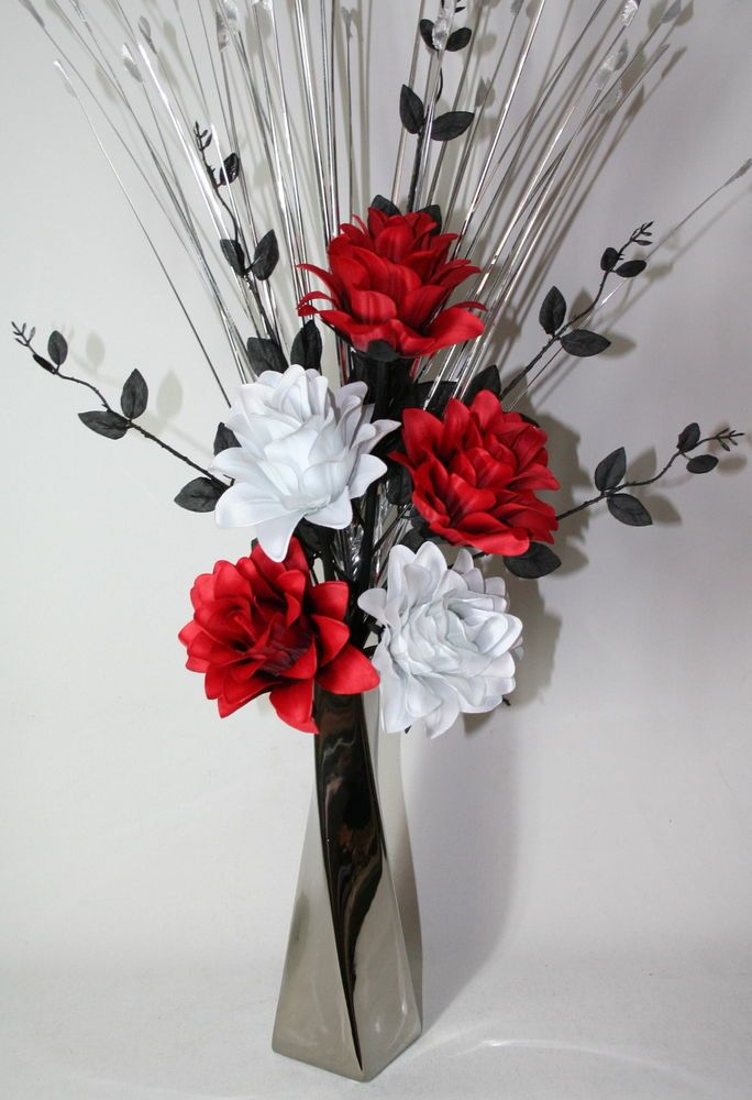 Artificial silk flower arrangement red black white flowers in silver vase