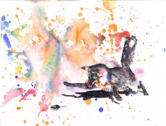 Fox Catching a Mouse Art Print From an Original Watercolor Painting - 8 X 10 in Great Children Kids Wall Art and Every Animal Lover
