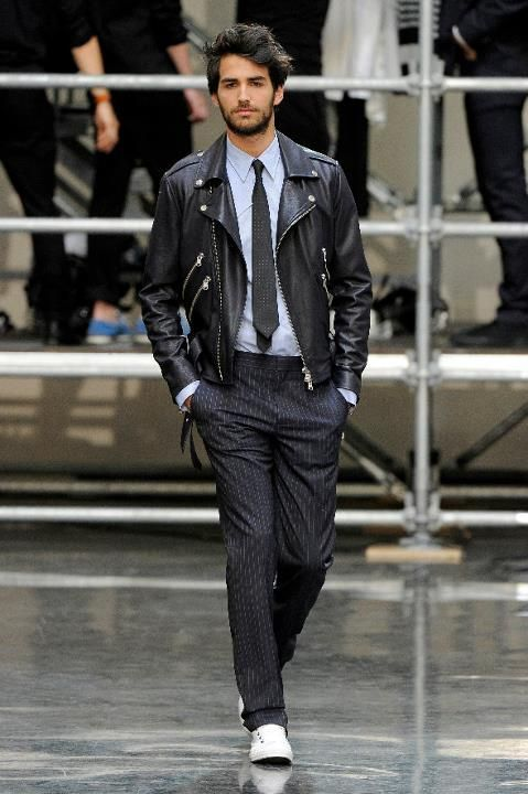 Men S Black Leather Biker Jacket Light Blue Long Sleeve Shirt