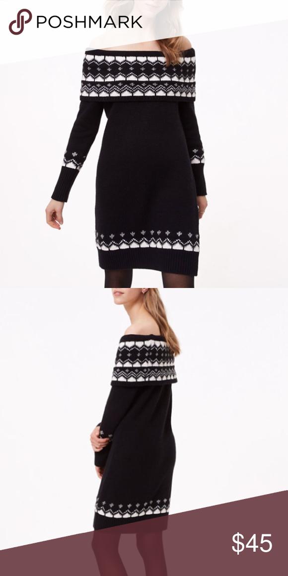 Nwt Loft Fair Isle Black Chunky Sweater Dress Nwt In 2018 My Posh